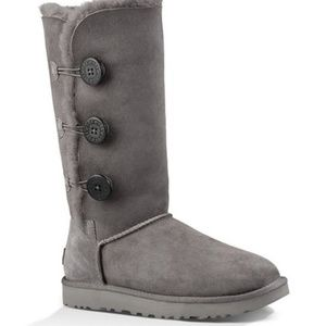 Ugg Bailey Button Tall Gray Boots 8